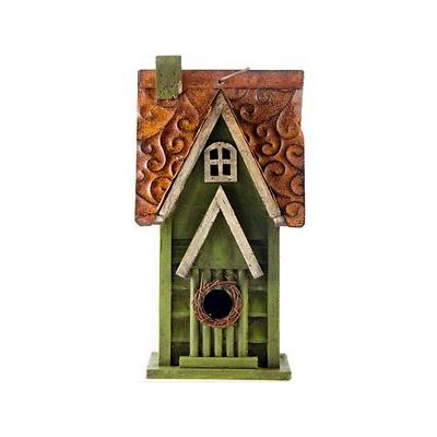 Glitzhome Distressed Solid Wood Bird House, 11.93-in