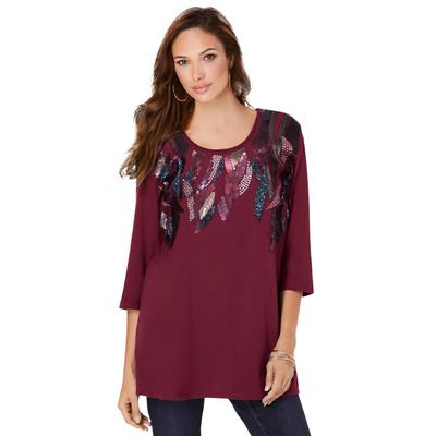 Plus Size Women's Feather Sequin Tunic by Roaman's in Rich Burgundy (Size 38/40)
