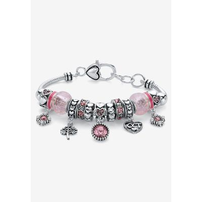 """Plus Size Women's Silver-Plated Simulated Birthstone 8"""" Charm Bracelet by PalmBeach Jewelry in October (Size 0)"""