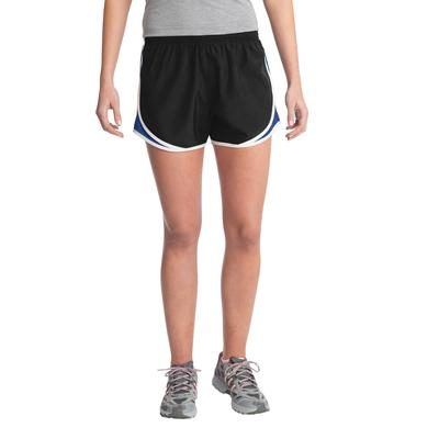 Sport-Tek LST304 Women's Cadence Short in Black/True Royal/White size XS | Polyester