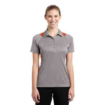 Sport-Tek LST665 Women's Heather Colorblock Contender Polo Shirt in Vintage Heather/Deep Orange size 3XL | Polyester