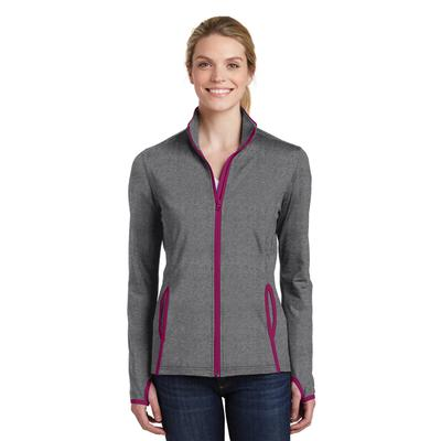 Sport-Tek LST853 Women's Sport-Wick Stretch Contrast Full-Zip Jacket in Charcoal Grey Heather/Pink Rush size 3XL | Polyester/Spandex Blend