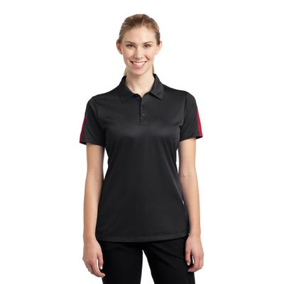 Sport-Tek LST695 Women's PosiCharge Active Textured Colorblock Polo Shirt in Black/True Red size 3XL | Polyester