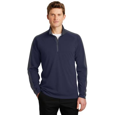 Sport-Tek ST861 Sport-Wick Textured Colorblock 1/4-Zip Pullover T-Shirt in True Navy Blue/Iron Grey size Small | Polyester