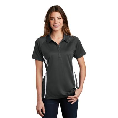Sport-Tek LST685 Women's PosiCharge Micro-Mesh Colorblock Polo Shirt in Iron Grey/White size XS | Polyester