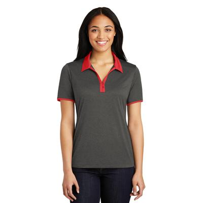 Sport-Tek LST667 Women's Heather Contender Contrast Polo Shirt in Graphite Grey size XXL | Polyester