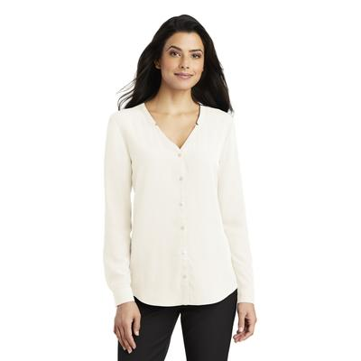 Port Authority LW700 Women's Long Sleeve Button-Front Blouse in Ivory Chiffon size Medium | Polyester