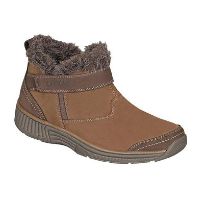 Women's Velcro Strap Boots Diabetic Shoes | OrthoFeet Siena Brown, 11.5 / Medium / Brown