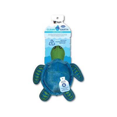 Spunky Pet Clean Earth Collection Recycled Turtle Plush Dog Toy, Small