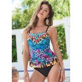 Bandeau Tankini Set Tankini Tops - Black/White/Pink/Purple/Brown/Multi/Blue