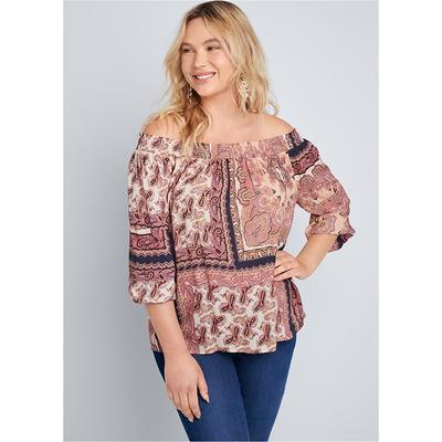 Off Shoulder Printed Top Tops - ...