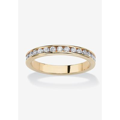 Women's Yellow Gold Plated Simulated Birthstone Eternity Ring by PalmBeach Jewelry in April (Size 9)