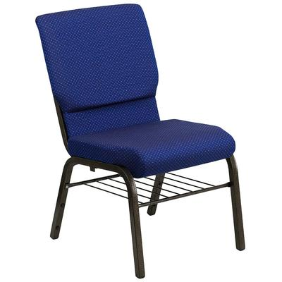 Flash Furniture XU-CH-60096-NVY-DOT-BAS-GG Stacking Church Chair w/ Navy Blue Dot Fabric Back & Seat - Steel Frame, Gold Vein Finish