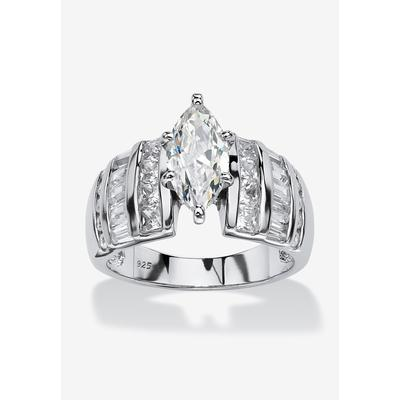 Plus Size Women's Platinum Over Silver Marquise Cut Engagement Ring by PalmBeach Jewelry in Cubic Zirconia (Size 12)
