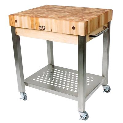 John Boos CUCT24 Cucina Technica Cart, Stainless Undershelf, 4 Rock Maple Top, 30 x 24