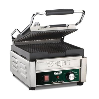 Waring WPG150B Commercial Panini Press w/ Cast Iron Grooved Plates, 208v/1ph on Sale