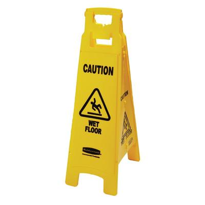 Rubbermaid FG611477YEL 4 Sided Floor Sign - Caution Wet Floor Yellow on Sale