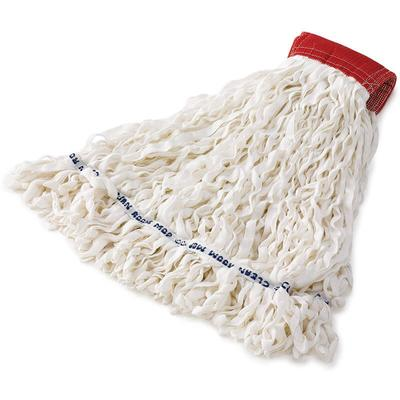 Rubbermaid FGT30000WH00 Medium Clean Room Mop Head - Looped End, 5 Headband, Rayon/Polyester, White on Sale