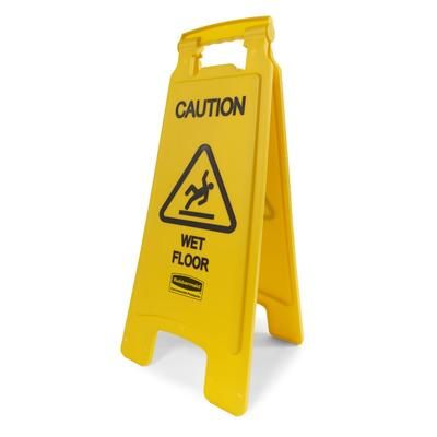 Rubbermaid FG611277YEL 2 Sided Floor Sign - Caution Wet Floor Yellow on Sale