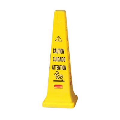 Rubbermaid FG627600 YEL Multi-Lingual Safety Cone - Caution, 12 1/4x12 1/4x36 Yellow on Sale
