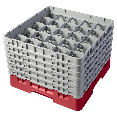 Cambro 25S1114163 Camrack Glass Rack - (6)Extenders, 25 Compartment, Red on Sale