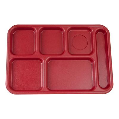 Cambro BCT1014416 Rectangular Budget School Tray - 10x14 1/2 6 Compartment, Cranberry on Sale