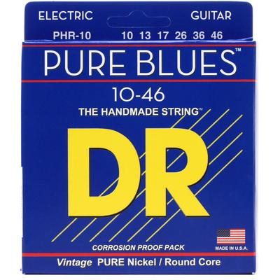 DR Strings PHR-10 Pure Blues Pure Nickel Electic Guitar Strings -.010-.046 Medium
