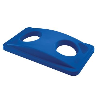 Rubbermaid FG269288BLUE Rectangle Recycling Trash Can Lid - Plastic, Blue on Sale