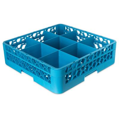 Carlisle RG9-114 Full-Size Dishwasher Glass Rack w/ (9) Compartments & Extender, Blue on Sale