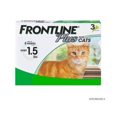 Frontline Plus Flea & Tick Cat & Kitten Treatment, 3 treatments