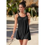 Gathered Neckline Dress Cover-ups - Black