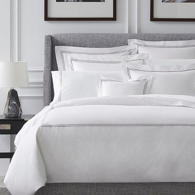 Grande Hotel Sham - White with Navy Embroidery, King - Frontgate