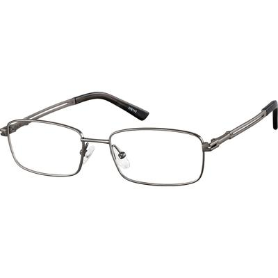 Zenni Mens Rectangle Prescription Glasses Gray Frame Titanium 376112