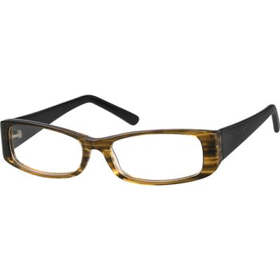 Zenni Women's Rectangle Prescription Glasses Brown Plastic Frame