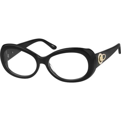Zenni Women's Oval Prescription Glasses Black Plastic Frame