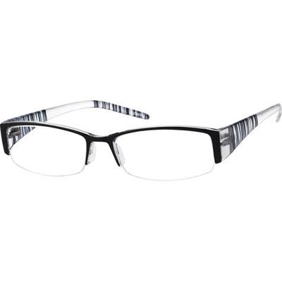 Zenni Rectangle Prescription Glasses Half-Rim Black Frame Plastic 228121