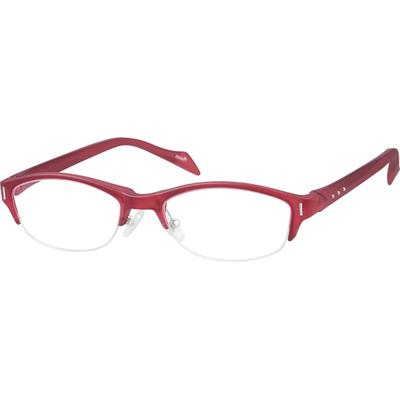 Zenni Womens Oval Prescription Glasses Half-Rim Red Frame Plastic 250218