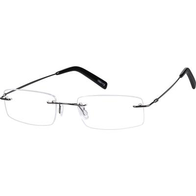 Zenni Lightweight Rimless Prescription Glasses Gray Stainless Steel Frame