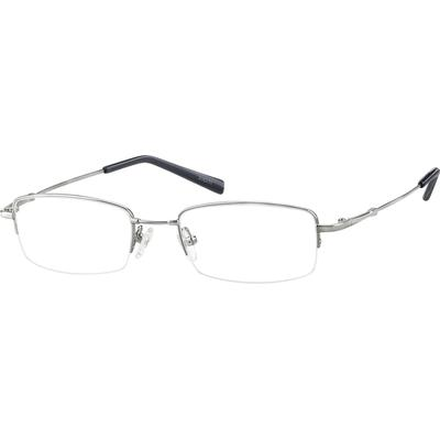 Zenni Men's Lightweight Rectangle Prescription Glasses Half-Rim Silver Memory Titanium Frame