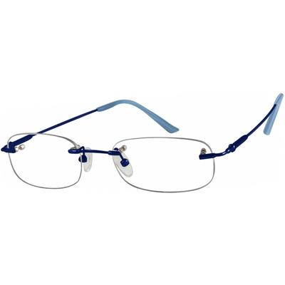 Zenni Women's Lightweight Rimless Prescription Glasses Blue Memory Titanium Frame