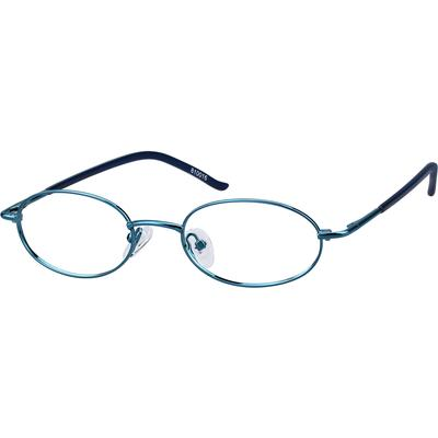 Zenni Womens Lightweight Oval Prescription Glasses Blue Frame Stainless Steel 810016