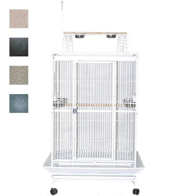 """A&E Cage Company 36"""" X 28"""" Play Top Bird Cage in Stainless Steel, Silver"""