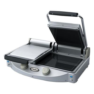 Cadco CPG-20F Double Commercial Panini Press w/ Ceramic Smooth Plates, 208-240v/1ph