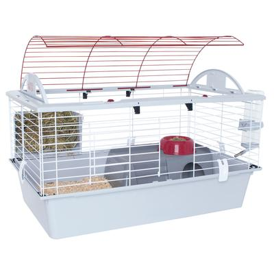 Hybrid cage consists of upper wire frame & plastic bottom base, provides a safe, well ventilated, comfy place for small pets.