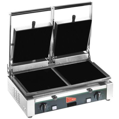 """Cecilware TSG-2F Double Panini Sandwich Grill with Flat Surfaces - 19 3/4"""" x 10"""" Cooking Surface - 240V, 3000W"""