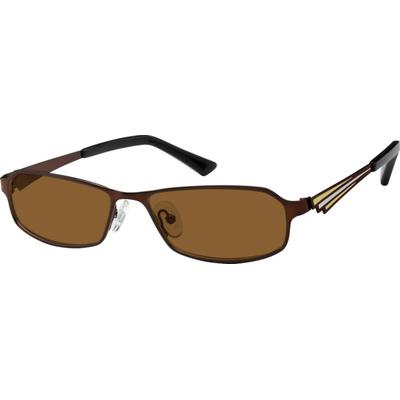 SB: Zenni Mens Sunglasses Brown Frame Stainless Steel A8404115 With stripes of color moving along the temple arms this full-rim frame of metal alloy with stainless steel temples provides a classy urban look. Durable by design this frame also features adjustable nosepads. They are non-prescription sunglasses. These...