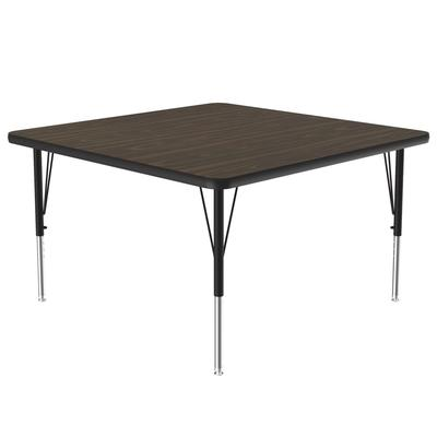 "Correll A4848-SQ 01 Activity Table w/ 1 1/4"" High Pressure Top, 48""W x 48""D, Walnut"
