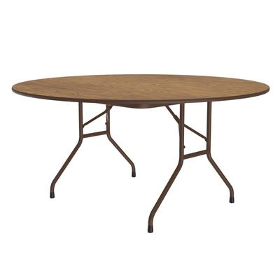 Correll PC6072P 06 Oval Solid Plywood Core Folding Table w/ Premium Top, 60 x 72, Oak on Sale