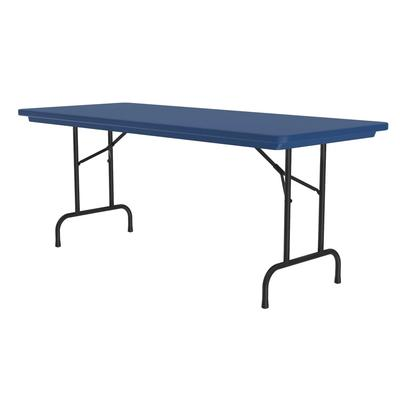 Correll R3072 27 Folding Seminar Table w/ Blow-Molded Top, 30 x 72, Blue on Sale