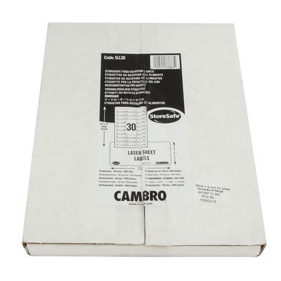 Cambro SLL30 StoreSafe Food Rotation Label Laser Sheet - 1x2 1/2 (3000 Labels)